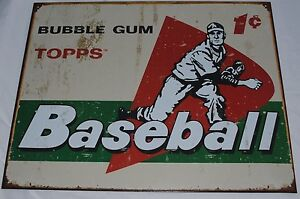 Vintage-Replica-Tin-Metal-Sign-Topps-picture-cards-box-gum-58-baseball-ball-1644