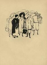 CHINA - DORFGESPRÄCH  Original Druckgraphik von Gustav SEITZ um 1950