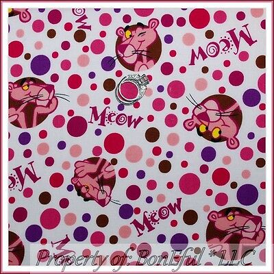 BonEful FABRIC FQ Cotton Quilt VTG White Purple Polka Dot Pink Panther Movie OOP