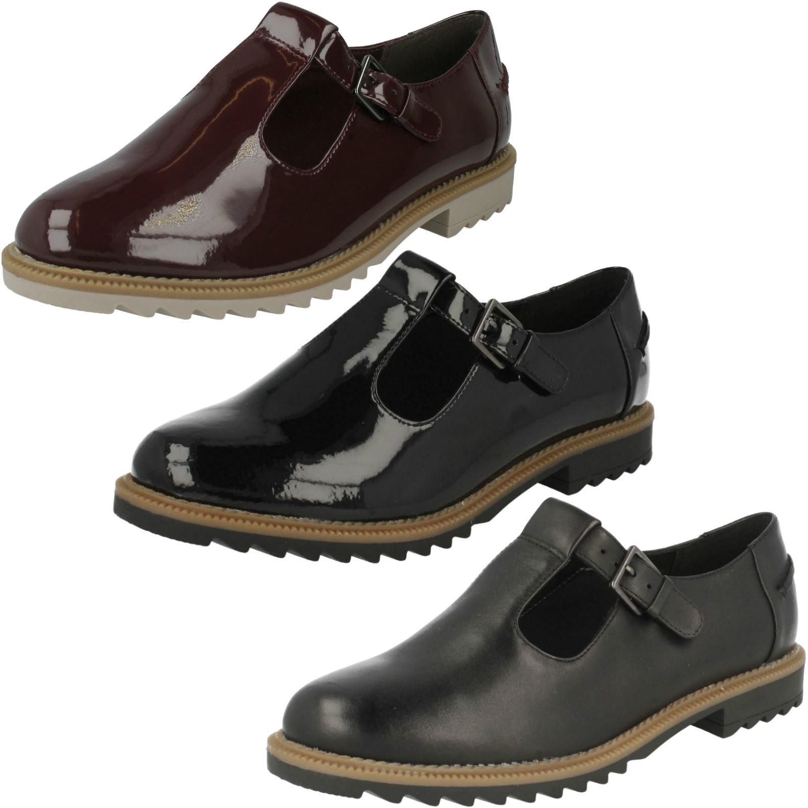 Damas Clarks Zapatos Planos Hebilla T-Bar    Griffin Monty'  para barato