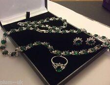 SE201 Set sim diamond emerald earrings necklace bracelet ring white gold gf BOXD