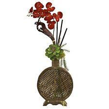 """34"""" Orchid Bamboo Red Silk Floral Arrangement w/ Planter (Nearly Natural #1338)"""