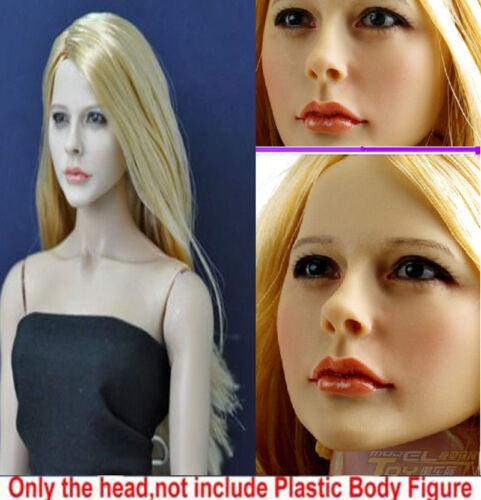 1:6 Kumik Female Sculpt Painted Woman Head Carving PVC Model Long Hair No Body