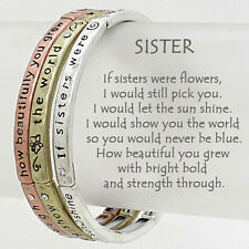 Sister Bracelet Flowers Sunshine 2 TONE Stretch SET Inspirational Message Friend