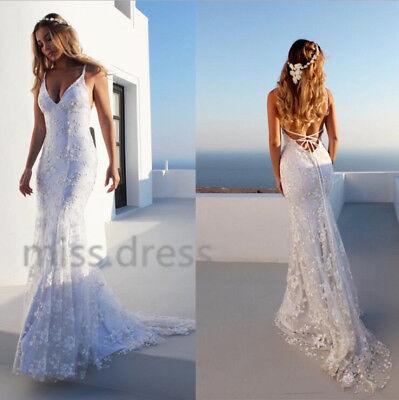 9a20c5dfeb2b 2018 Sexy Mermaid Spaghetti Straps Lace Wedding Dress Backless Beach Bridal  Gown
