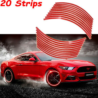 RED REFLECTIVE MOTORCYCLE or CAR RIM STRIPES WHEEL DECALS TAPE STICKERS TRIM KIT