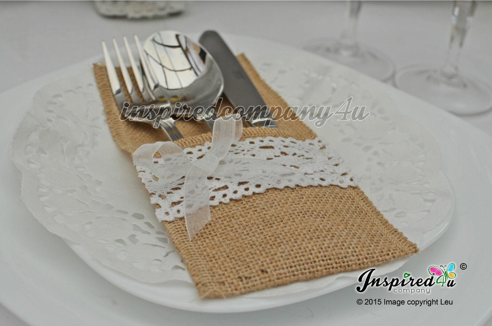 25 x Wedding Cutlery Holders Burlap Hessian Table Decor Crochet Ribbon Lace   8