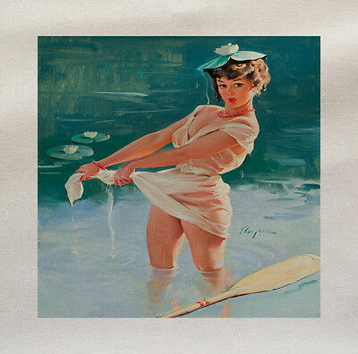 Pinup girl Swimming Printed On Fabric Panel Make A Cushion Upholstery Craft