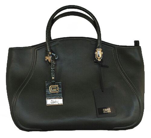 Women Bag Roberto Cavalli Class 100/% Calf Leather Shoulder Bag Tote Bronze//Green