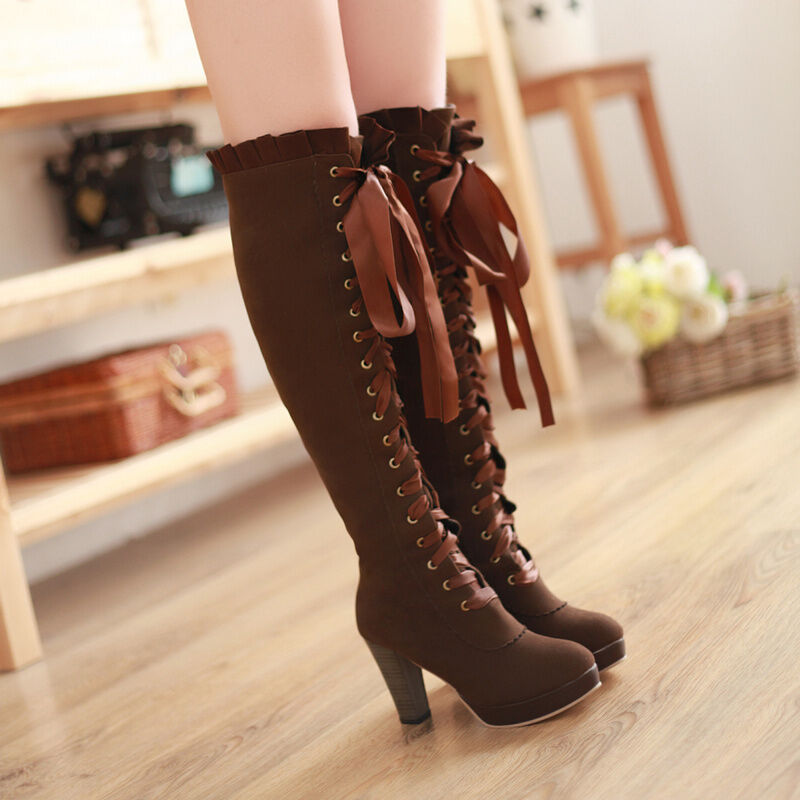 Womens High Block Heel Knee Lace Up Vintage ruffle trim Boot Winter Faux Suede