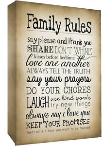 Image Is Loading Sepia Family Rules Quote Canvas Wall Art Picture