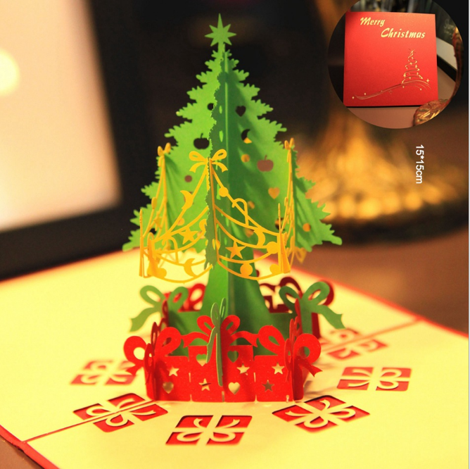 3D Light Greeting Festival Card Up Postcard Xmas Paper Creative Music Gifts H9T7