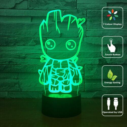 Groot Marvel 3D LED Tischlampe Leselampe Nachtlicht Nachttischlampe Geschenk