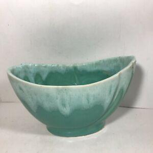 Vintage Green Drip Glazed Pottery Oblong Planter USA 709