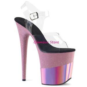Heel Sandales De Du 35 20 Rose Chaussures Sexy Plateau Transparent Au Glitter 40 BxwrPnB6EY