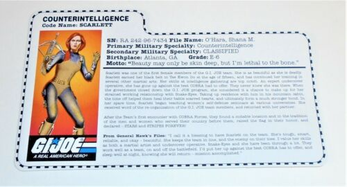 G I JOE File Card Filecard  Stars and Stripes       1997 Scarlett