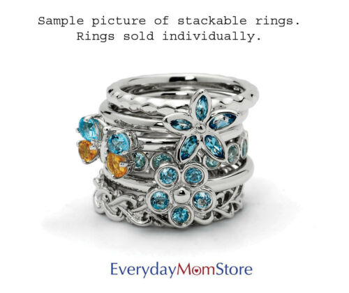 QSK510 Sterling Silver Stackable Ring 5 mm Low Set Round Aquamarine stone