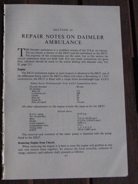 Repair Notes Daimler Ambulance 4pp Period Illustrated