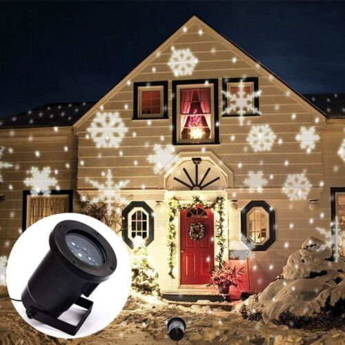 LED Snowflake moving Wall Landscape Laser Projector Xmas Party Light Home Decor