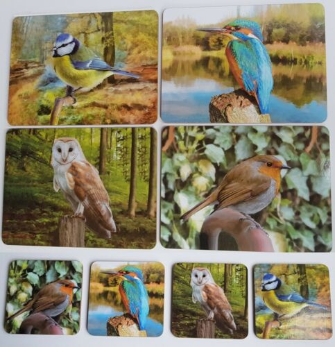 British Birds Placemats and Coasters Table Dining Mats Set 4