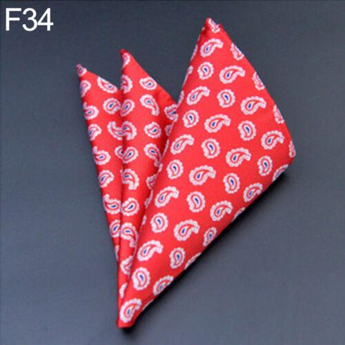AC/_ LC/_ Men Pocket Hankerchief Dots Solid Floral Plaids Hanky Wedding Party Deco