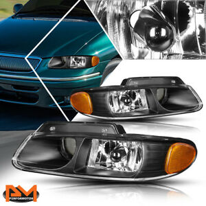 For-96-99-Caravan-Town-amp-Country-Projector-Quad-Lamps-Headlight-Amber-Side-Black