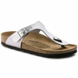 Birkenstock Gizeh Silver Birko-flor Womens Leather Sandals 5 UK 38 EU 7 US