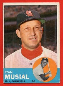 1963 Topps #250 Stan Musial EX/EX+ MARKED St. Louis Cardinals HOF FREE SHIPPING