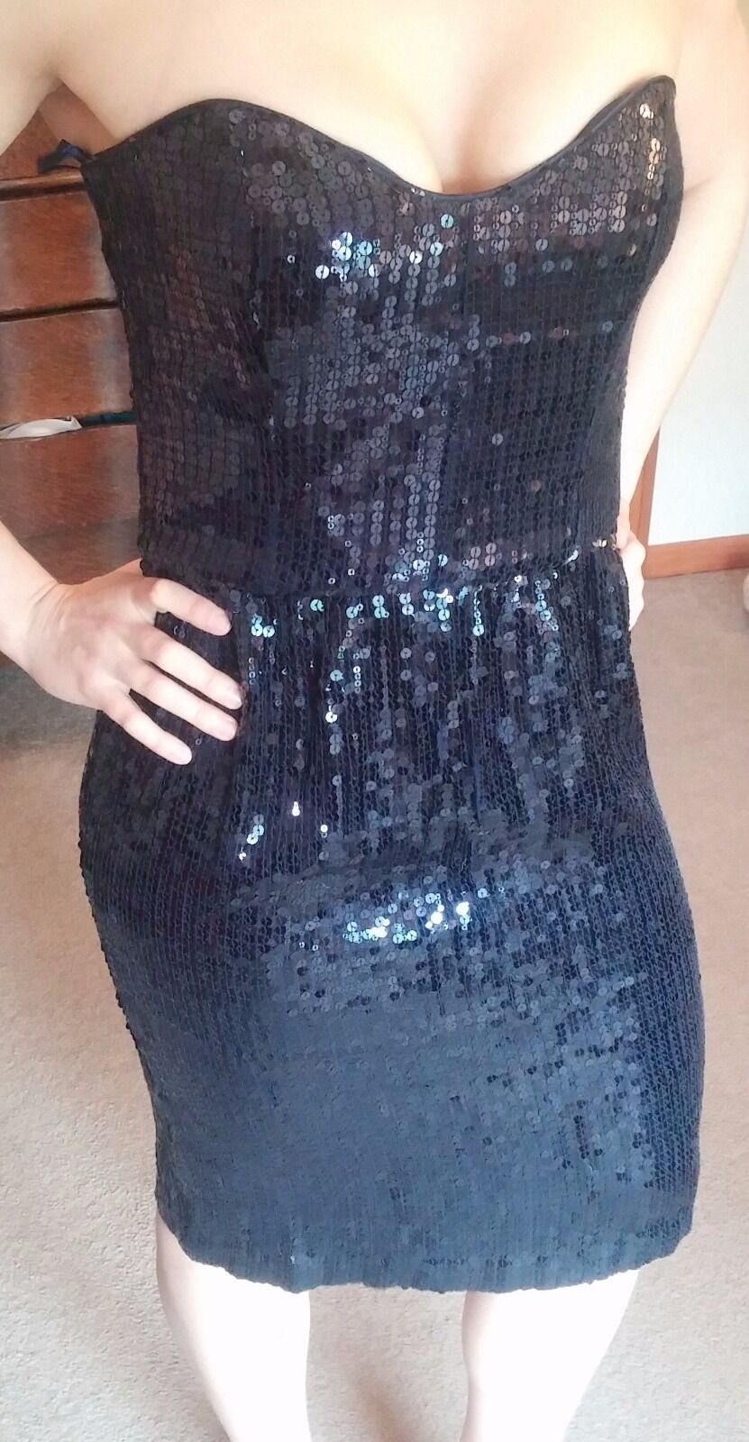 French Connection Nocturnal Navy Sequin Sweetheart Sparkle Sparkle Sparkle Date Night Dress 8fb4f9