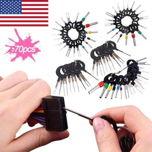 70Pcs Pin Ejector Wire Kit Auto Terminal Removal Connector Pin Extractor Tools