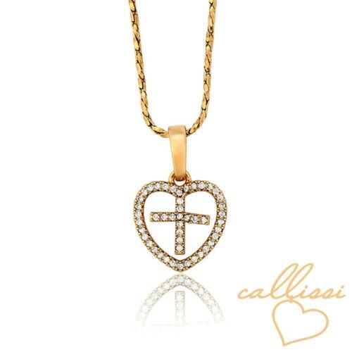 luxus Herz Kreuz Kette 750er Gold 18k echt vergoldet Luxus Schmuck Callissi
