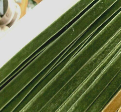 "Vintage  3//8/"" 9mm Velvet  Ribbon Trim Dark Moss 3yds Made in Switzerland"
