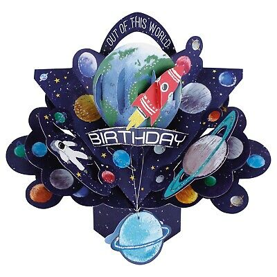 3d pop up space ship rocket son birthday card fun novelty kids