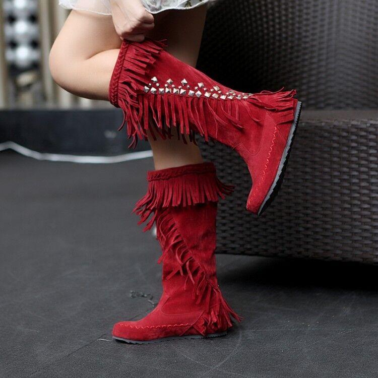 Womens Rhinestone Warm Knee High Boots Fringe Pull On Tassels Ethnic Boots Flats