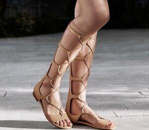92c6d3996a68 New  225 Michael Kors Sofia Gladiator Tall Leather Sandal Suntan ...