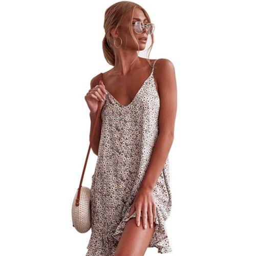 Damen Boho Blumen Trägerkleid Tunika Sommerkleid Strand Rüsche Riemchen Longtop