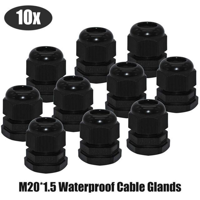 5x 16 mm Black Waterproof IP68 Compression TRS Cable Stuffing Gland Locknut M16