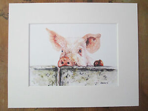 """in 10/"""" x 8/"""" Mount of original painting print Watercolour cow"""