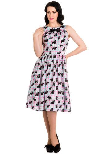 Hell Bunny 60/'s Mod Scottie Scottish Terrier Pastel Plaid Check Flare Dress