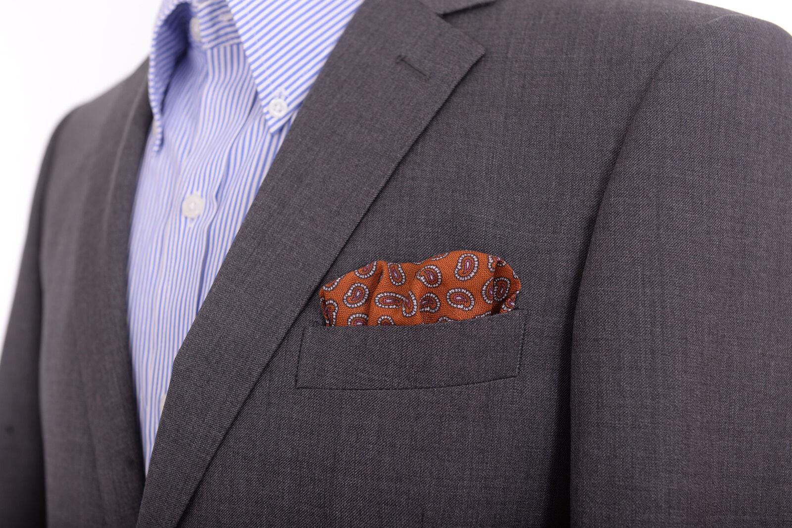 Cesare Attolini Navy Blue Paisley 100/% Silk Pocket Square NWT Handmade in Italy