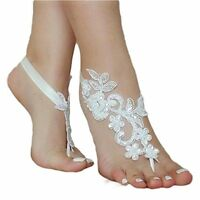 Asa Bridal Summer Crochet Barefoot Sandal Lace Anklets Wedding Prom Party Ivory