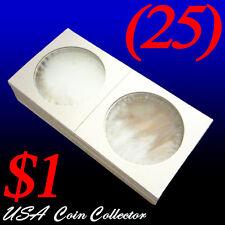 (25) Large Dollar Size 2x2 Mylar Cardboard Coin Flips for Storage   $1 Holder