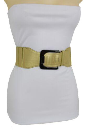 Women Gold Faux Leather Elastic Hip High Waist Square Buckle Belt Plus M L XL