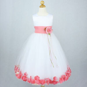 WHITE CORAL Flower Girl Dress Petals Bridal Wedding Party Gown ...
