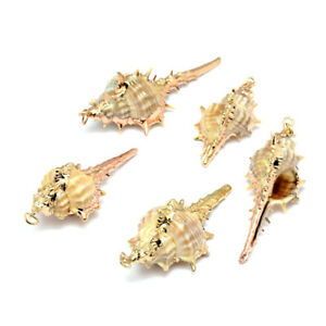 10PCS-Golden-Electroplated-Conch-Shell-Pendants-Charms-Necklace-Jewelry-Making