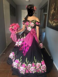 quinceanera dress black and pink