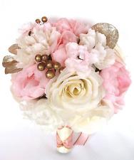 17 piece Wedding Bouquet Silk Flower Bridal Light PINK Rose GOLD BLUSH package