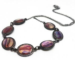 VINTAGE-Abalone-Shell-Necklace-Oval-Mother-Pearl-Shell-Collar