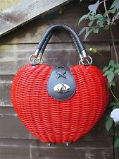 1950s Red Apple / Heart Shaped Rattan Handbag Fifties Rockabilly Novelty Purse