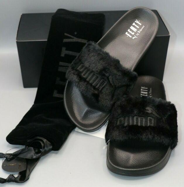 Puma Leadcat X Fenty Womens Fur Slides Black/Puma Silver 362266 03 Size 11.5